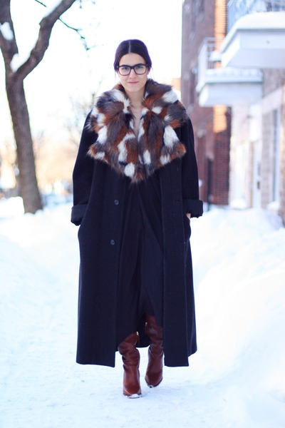 black maxi vintage coat - crimson Zara boots - black Nasty Gal dress