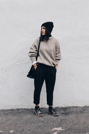beige vintage sweater - black Zara romper - deep purple Miista flats