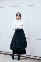 dark gray vintage coat - black Zara boots - white turtleneck Zara sweater