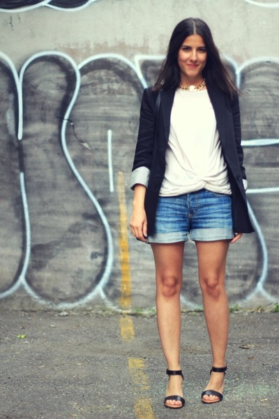 black Zara blazer - ruby red Zara bag - sky blue denim H&M shorts