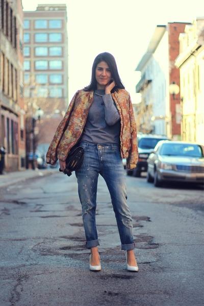 bronze jacquard bomber H&M jacket - sky blue boyfriend Mango jeans