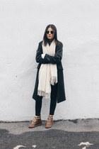 brown Zara boots - dark gray Choies coat - ivory KisKissay scarf