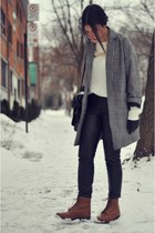 heather gray herringbone River Island jacket - brown Topshop boots