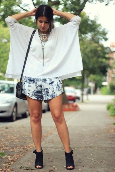 black peep toe Aldo boots - dark gray Zara bag - heather gray Topshop shorts