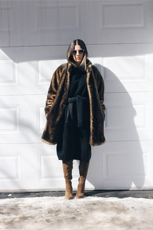 dark brown vintage coat - light brown Zara boots