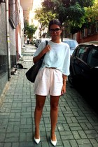 white Zara shoes - charcoal gray leather Topshop bag - light pink vintage shorts