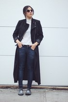 black cropped H&M jacket - black duster Choies jacket - navy Mango jeans