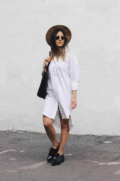 bronze fedora asos hat - white shirt dress H&M dress - black tote H&M bag