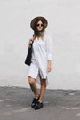 White-shirt-dress-h-m-dress-bronze-fedora-asos-hat-black-tote-h-m-bag