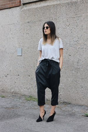 black marcelia Alexander Wang heels - gray harem pants