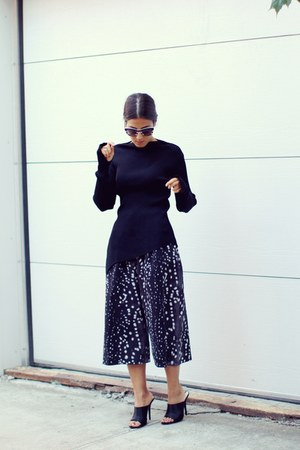 black Zara sweater - dark gray Topshop pants - black mules Zara heels