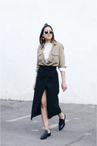 dark khaki Zara shirt - off white Zara top - black Zara skirt