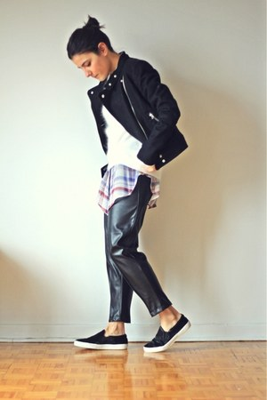 black Zara shoes - black H&amp;M jacket - white mohair Oysho sweater
