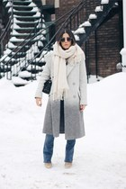 heather gray ombre wool asos coat - camel Topshop boots - sky blue asos jeans