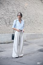 black Stylenanda bag - light blue Zara shirt - ivory wide leg Mango pants