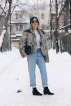 heather gray fur vintage coat - black jensen acne boots