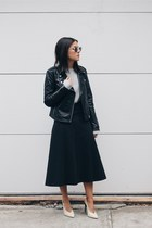 black leather biker Mango jacket - periwinkle Oysho sweater