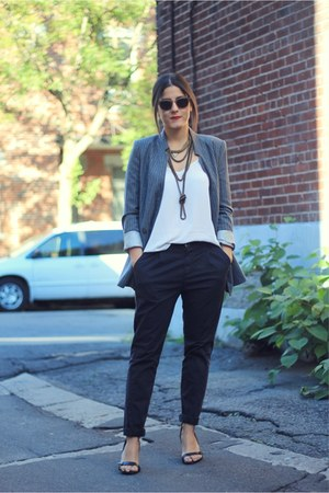 charcoal gray pinstripe Zara blazer - dark khaki Yves Saint Laurent sunglasses