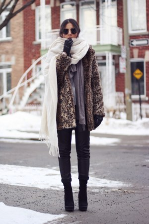 black Zara boots - light brown Nasty Gal coat - heather gray Zara scarf