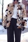 Brown-rabbit-fur-vintage-coat-ivory-embroidered-zara-shirt