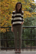 white striped knitted Primark sweater - tawny Primark boots