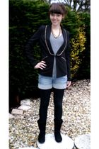 black charol shoes - blue DIY shorts - black Primark blazer - gray H&M top