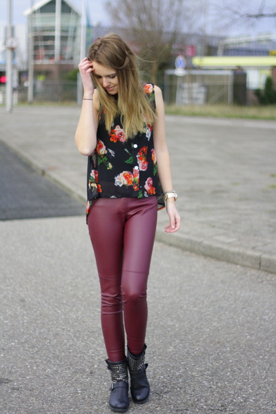 studded Alysa boots - faux leather H&M pants - floral chifon Kenzaa blouse