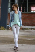 knitted H&M sweater - biker Primark boots - floral Secondhand jeans
