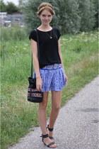 black thrifted top - blue boho bohemian Mango skirt