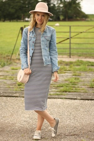 blue denim Primark jacket - black Zara dress - heather gray H&M sneakers