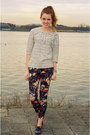 Silver-zara-shoes-studs-h-m-sweater-floral-mango-pants