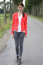 ruby red Forever21 blazer - black Zara boots - heather gray skinny Only jeans