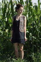 black bohemian thrifted dress - black mirrors sequins Zara vest