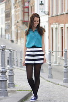 chiffon Primark blouse - striped asos shorts