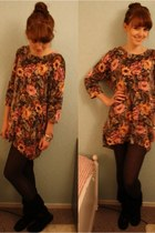 floral sweater - suede boots