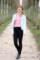 periwinkle vintage jacket - black Zara boots - black Topshop jeans