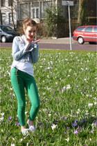 blue H&M jacket - green Zara pants - white H&M t-shirt