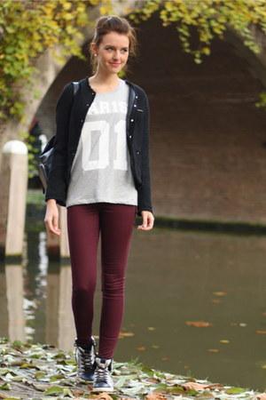 black thrifted blazer - brick red H&M jeans