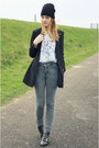 Black-studs-studded-zara-boots-heather-gray-thrifted-jeans-black-h-m-blazer
