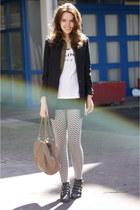 print pieces leggings - H&M blazer - Celine shirt - Zara shorts