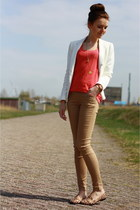 white Zara blazer - coral Mango top - camel Primark pants