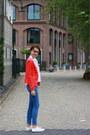 White-allstars-converse-shoes-blue-skinny-h-m-jeans-red-forever21-blazer