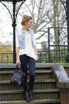 denim studded DIY vest - Alysa boots - Zara sweater - Primark bag - H&M pants