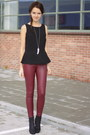 Black-h-m-shoes-brick-red-leather-skinny-h-m-pants