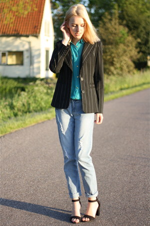 blue boyfriend Primark jeans - black striped vintage blazer