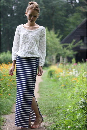 navy Primark skirt - white lookbookstore jumper