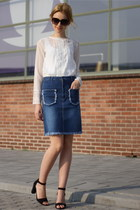 blue Gucci skirt - white H&M blouse - black strappy sandals Primark heels