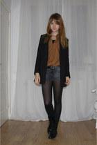 black H&M boots - black H&M blazer - tawny vintage blouse