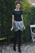 silver Isabel Marant skirt - black lace black Bella Ragazza top