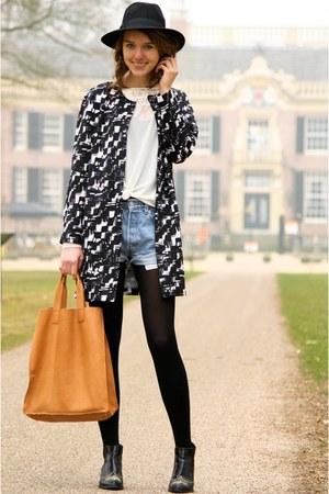 black Primark coat - black H&M boots - carrot orange ecco bag